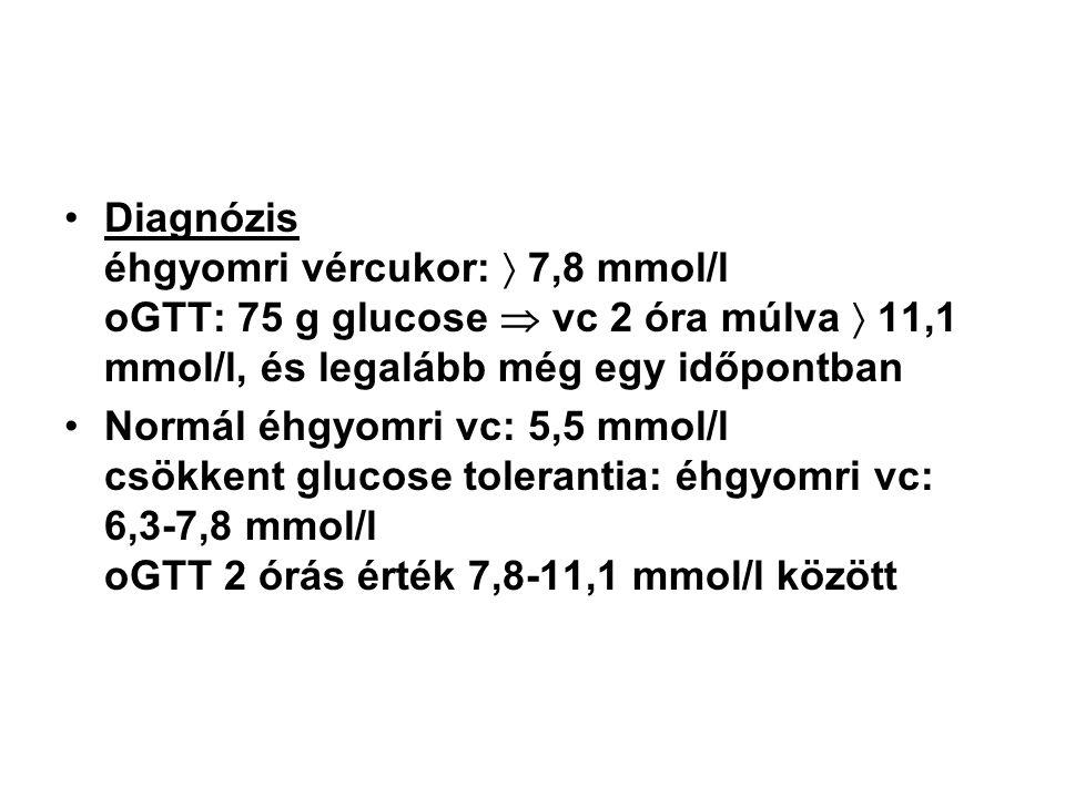 •Diagnózis éhgyomri vércukor:  7,8 mmol/l oGTT: 75 g glucose  vc 2 óra múlva  11,1 mmol/l, és legalább még egy időpontban •Normál éhgyomri vc: 5,5 mmol/l csökkent glucose tolerantia: éhgyomri vc: 6,3-7,8 mmol/l oGTT 2 órás érték 7,8-11,1 mmol/l között