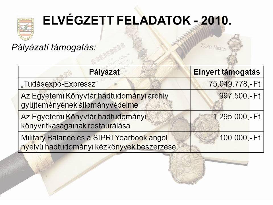 """Pályázati támogatás: ELVÉGZETT FELADATOK - 2010. PályázatElnyert támogatás """"Tudásexpo-Expressz""""75.049.778,- Ft Az Egyetemi Könyvtár hadtudományi archí"""