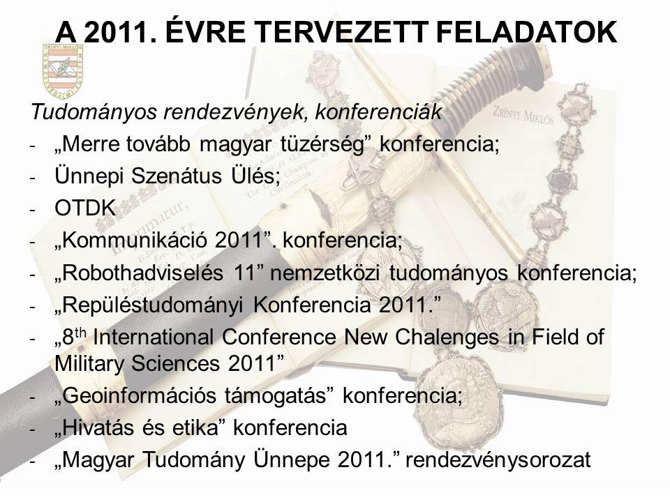 """A 2011. ÉVRE TERVEZETT FELADATOK Tudományos rendezvények, konferenciák - """"Merre tovább magyar tüzérség"""" konferencia; - Ünnepi Szenátus Ülés; - OTDK -"""