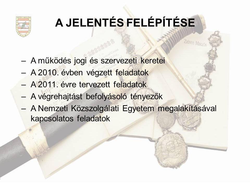 A JELENTÉS FELÉPÍTÉSE –A működés jogi és szervezeti keretei –A 2010. évben végzett feladatok –A 2011. évre tervezett feladatok –A végrehajtást befolyá
