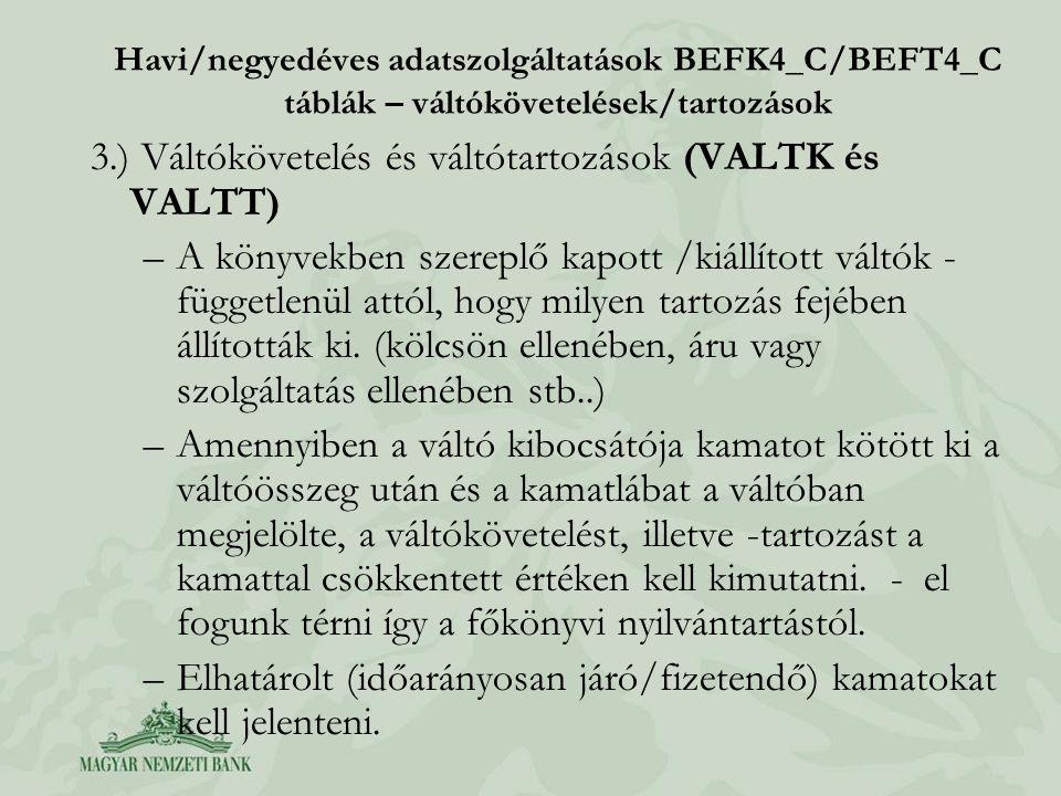 Havi/negyedéves adatszolgáltatások BEFK4_C/BEFT4_C táblák – váltókövetelések/tartozások 3.) Váltókövetelés és váltótartozások (VALTK és VALTT) –A köny