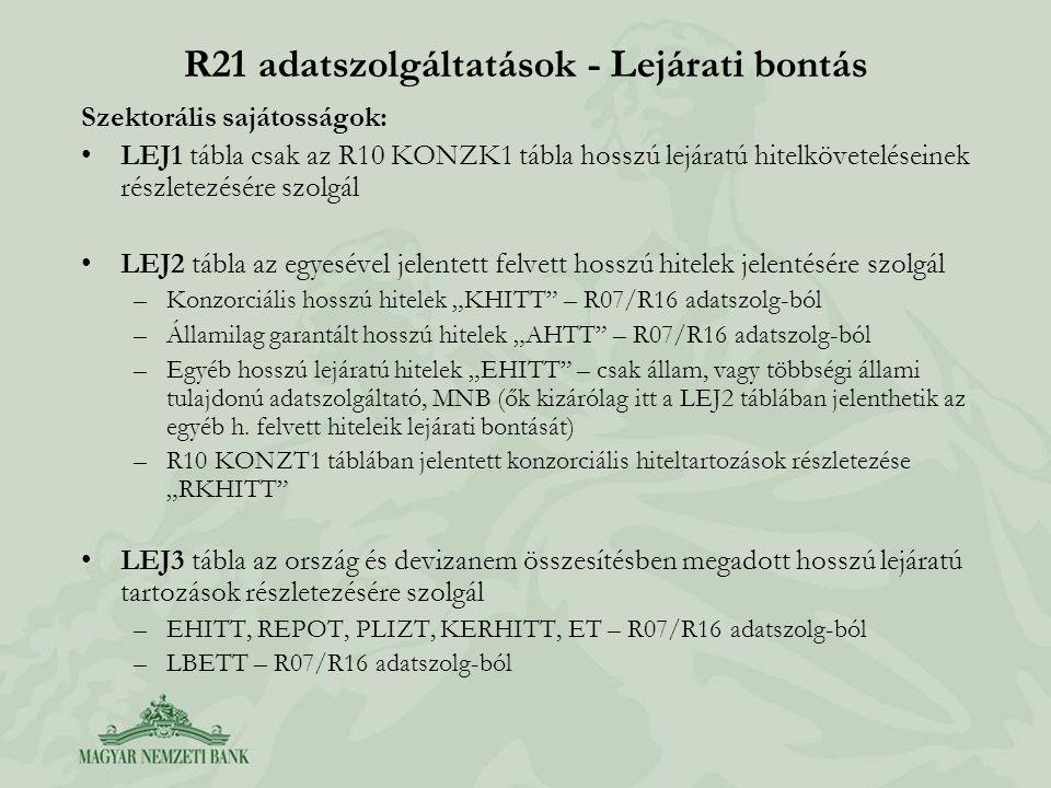 R21 adatszolgáltatások - Lejárati bontás Szektorális sajátosságok: •LEJ1 tábla csak az R10 KONZK1 tábla hosszú lejáratú hitelköveteléseinek részletezé