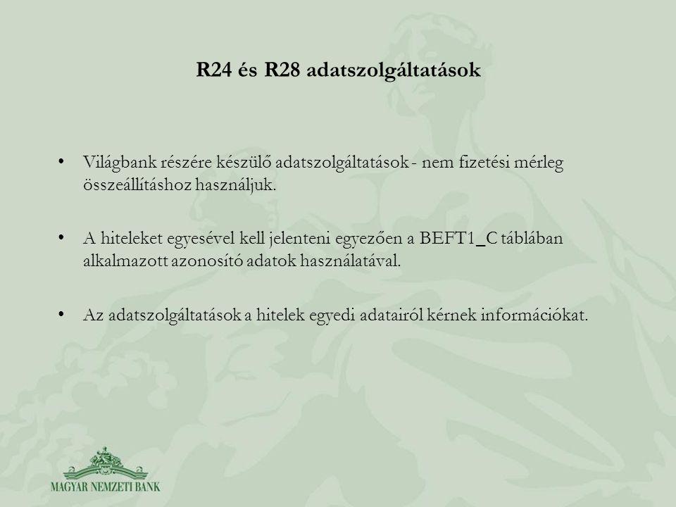 R24 és R28 adatszolgáltatások •Világbank részére készülő adatszolgáltatások - nem fizetési mérleg összeállításhoz használjuk. •A hiteleket egyesével k