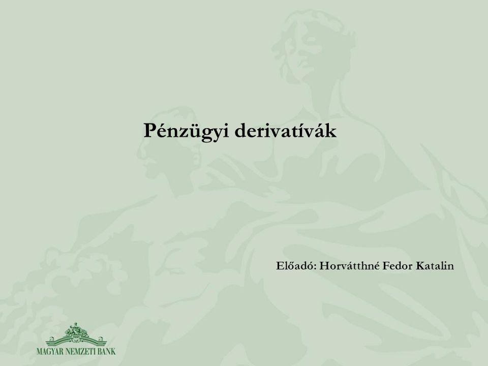 Pénzügyi derivatívák Előadó: Horvátthné Fedor Katalin