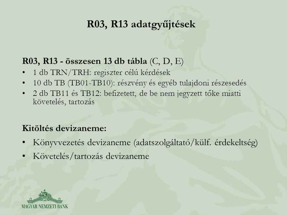 R03, R13 adatgyűjtések R03, R13 - összesen 13 db tábla (C, D, E) •1 db TRN/TRH: regiszter célú kérdések •10 db TB (TB01-TB10): részvény és egyéb tulaj