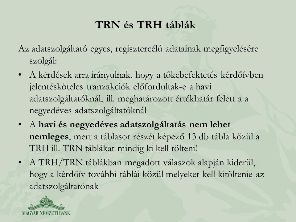 TRN és TRH táblák Az adatszolgáltató egyes, regisztercélú adatainak megfigyelésére szolgál: •A kérdések arra irányulnak, hogy a tőkebefektetés kérdőív