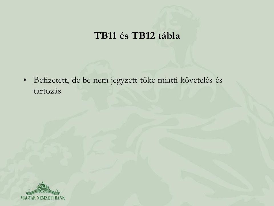TB11 és TB12 tábla •Befizetett, de be nem jegyzett tőke miatti követelés és tartozás