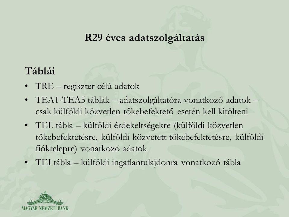 R29 éves adatszolgáltatás Táblái •TRE – regiszter célú adatok •TEA1-TEA5 táblák – adatszolgáltatóra vonatkozó adatok – csak külföldi közvetlen tőkebef