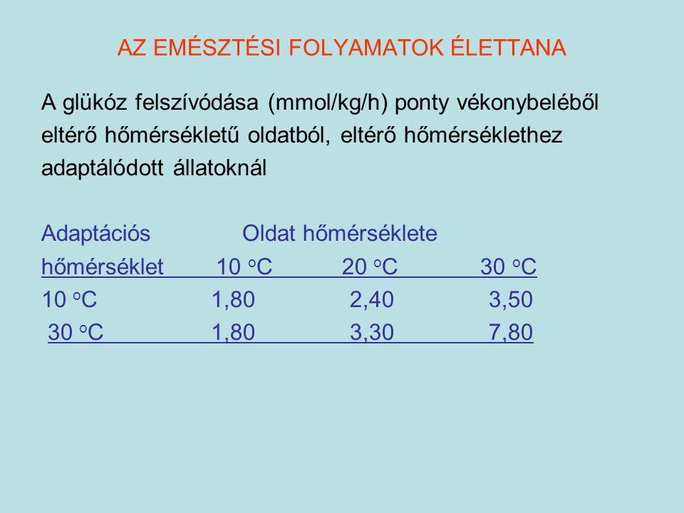 AZ EMÉSZTÉSI FOLYAMATOK ÉLETTANA A glükóz felszívódása (mmol/kg/h) ponty vékonybeléből eltérő hőmérsékletű oldatból, eltérő hőmérséklethez adaptálódot
