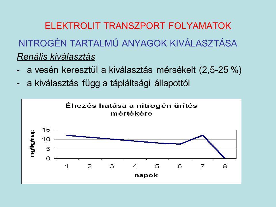 ELEKTROLIT TRANSZPORT FOLYAMATOK NITROGÉN TARTALMÚ ANYAGOK KIVÁLASZTÁSA Renális kiválasztás -a vesén keresztül a kiválasztás mérsékelt (2,5-25 %) -a k