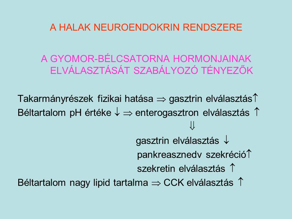 A HALAK NEUROENDOKRIN RENDSZERE A GYOMOR-BÉLCSATORNA HORMONJAINAK ELVÁLASZTÁSÁT SZABÁLYOZÓ TÉNYEZŐK Takarmányrészek fizikai hatása  gasztrin elválasz