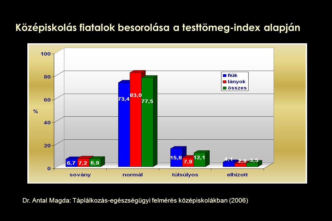 Középiskolás fiatalok besorolása a testtömeg-index alapján Dr. Antal Magda: Táplálkozás-egészségügyi felmérés középiskolákban (2006)