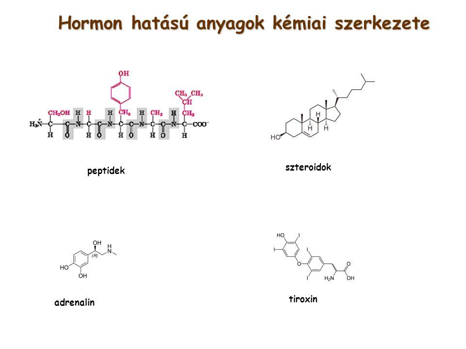 Hormon hatású anyagok kémiai szerkezete tiroxin adrenalin peptidek szteroidok