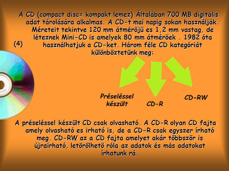 (4) A CD (compact disc= kompakt lemez) Általában 700 MB digitális adat tárolására alkalmas.