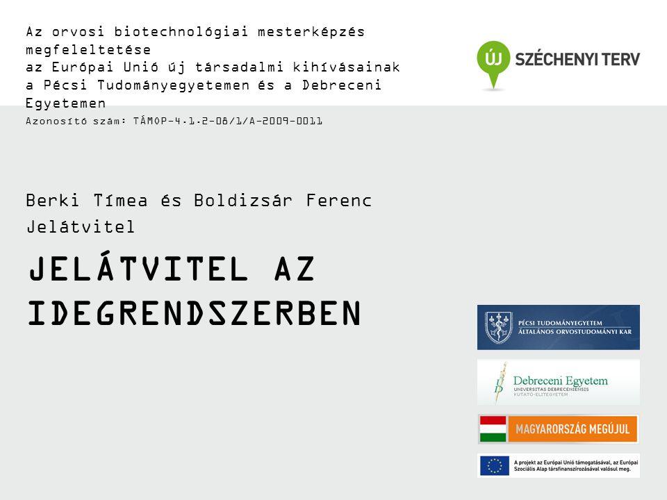 JELÁTVITEL AZ IDEGRENDSZERBEN Az orvosi biotechnológiai mesterképzés megfeleltetése az Európai Unió új társadalmi kihívásainak a Pécsi Tudományegyetem