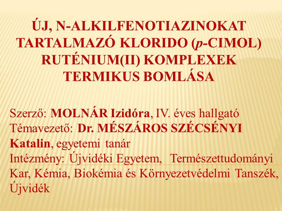 ÚJ, N-ALKILFENOTIAZINOKAT TARTALMAZÓ KLORIDO (p-CIMOL) RUTÉNIUM(II) KOMPLEXEK TERMIKUS BOMLÁSA Szerző: MOLNÁR Izidóra, IV. éves hallgató Témavezető: D