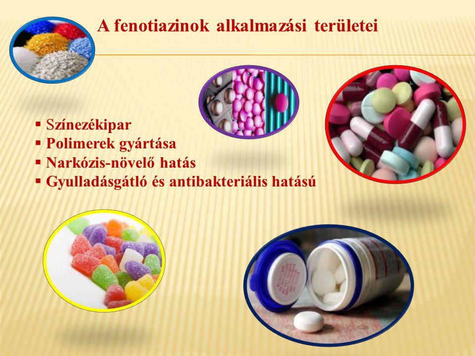 A fenotiazinok alkalmazási területei  Színezékipar  Polimerek gyártása  Narkózis-növelő hatás  Gyulladásgátló és antibakteriális hatású