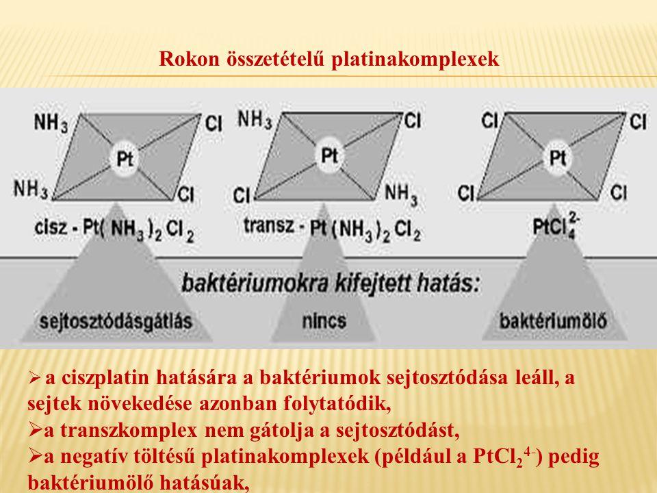 Rokon összetételű platinakomplexek  a ciszplatin hatására a baktériumok sejtosztódása leáll, a sejtek növekedése azonban folytatódik,  a transzkompl