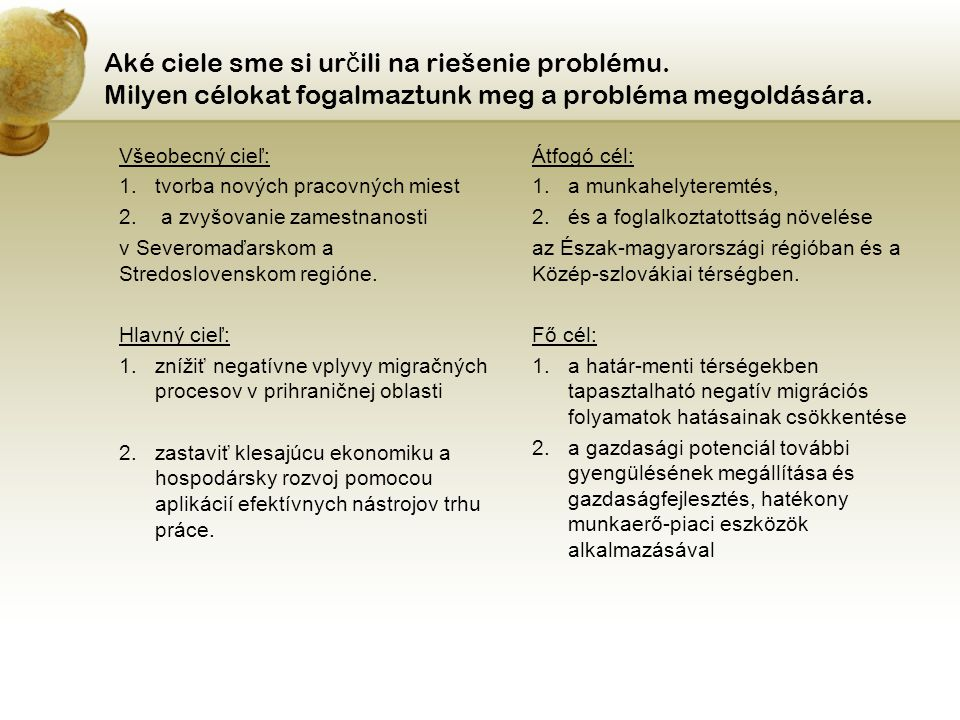 Aké ciele sme si ur č ili na riešenie problému.