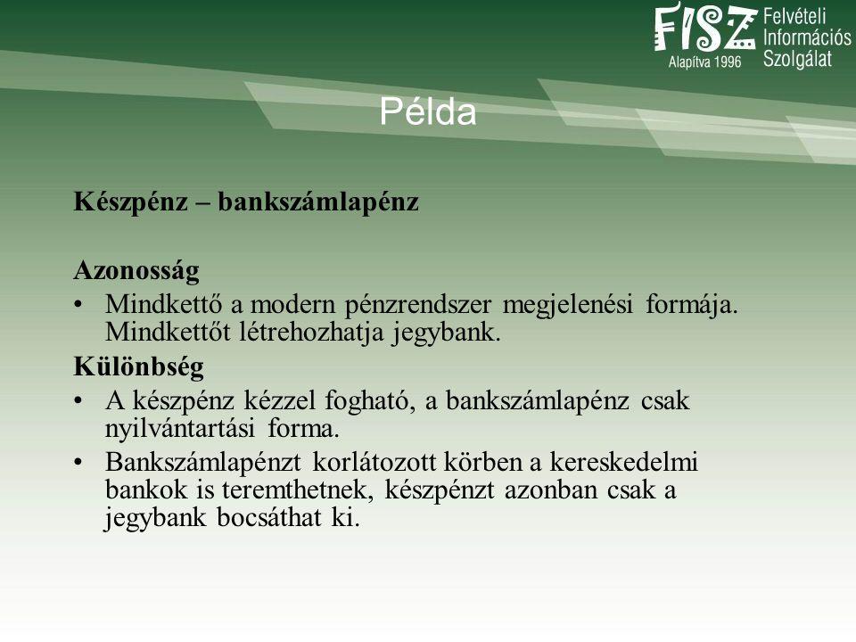 Példa Készpénz – bankszámlapénz Azonosság •Mindkettő a modern pénzrendszer megjelenési formája.