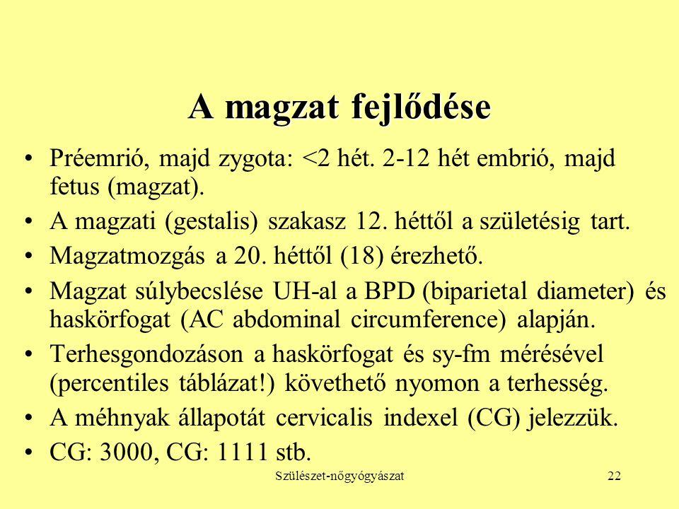 Szülészet-nőgyógyászat22 A magzat fejlődése •Préemrió, majd zygota: <2 hét. 2-12 hét embrió, majd fetus (magzat). •A magzati (gestalis) szakasz 12. hé