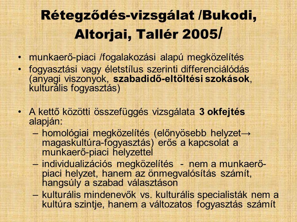 Rétegződés-vizsgálat /Bukodi, Altorjai, Tallér 2005 / •munkaerő-piaci /fogalakozási alapú megközelítés •fogyasztási vagy életstílus szerinti differenc