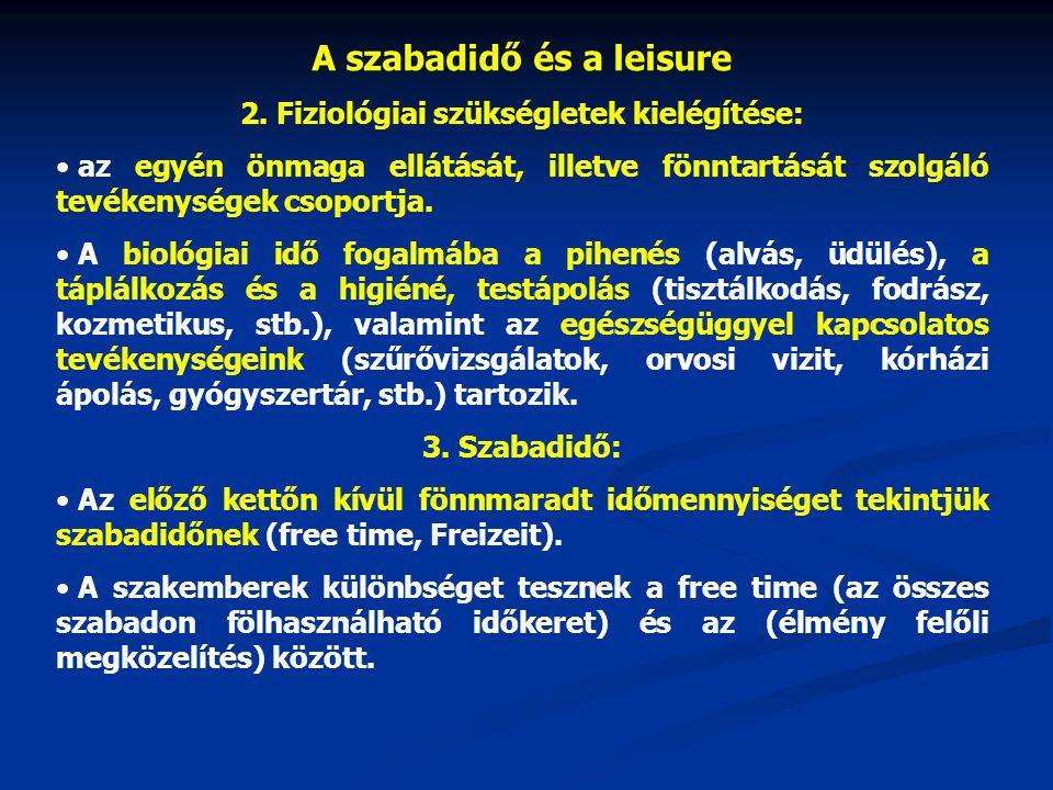 A szabadidő és a leisure 2. Fiziológiai szükségletek kielégítése: • az egyén önmaga ellátását, illetve fönntartását szolgáló tevékenységek csoportja.