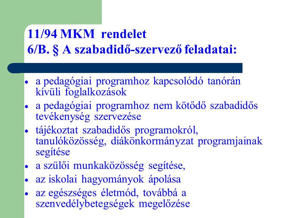 11/94 MKM rendelet 6/B. § A szabadidő-szervező feladatai:  a pedagógiai programhoz kapcsolódó tanórán kívüli foglalkozások  a pedagógiai programhoz
