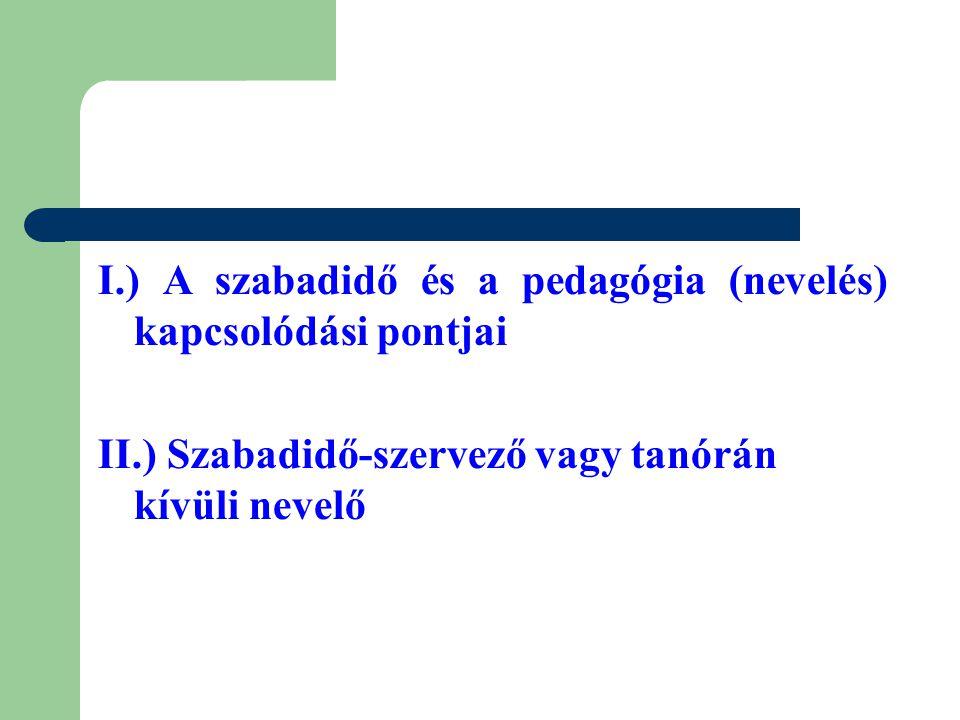 I.) A szabadidő és a pedagógia (nevelés) kapcsolódási pontjai II.) Szabadidő-szervező vagy tanórán kívüli nevelő