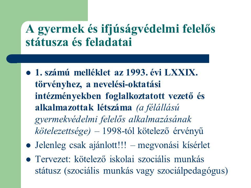 A gyermek és ifjúságvédelmi felelős státusza és feladatai  1. számú melléklet az 1993. évi LXXIX. törvényhez, a nevelési-oktatási intézményekben fogl