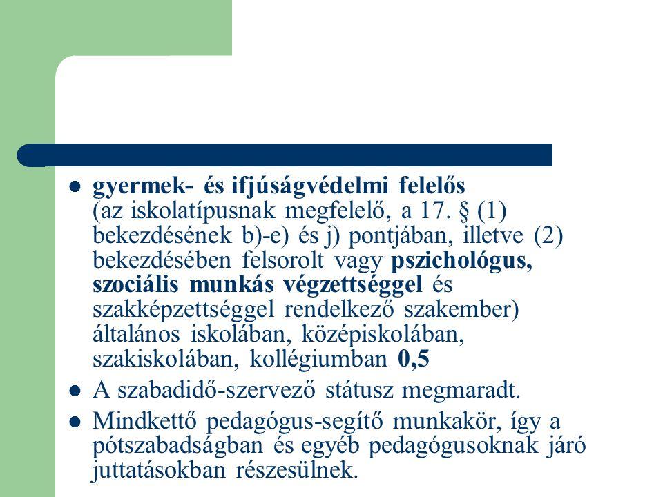  gyermek- és ifjúságvédelmi felelős (az iskolatípusnak megfelelő, a 17. § (1) bekezdésének b)-e) és j) pontjában, illetve (2) bekezdésében felsorolt