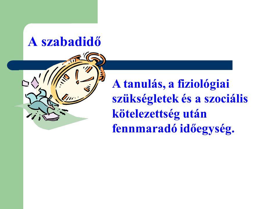 A szabadidő A tanulás, a fiziológiai szükségletek és a szociális kötelezettség után fennmaradó időegység.
