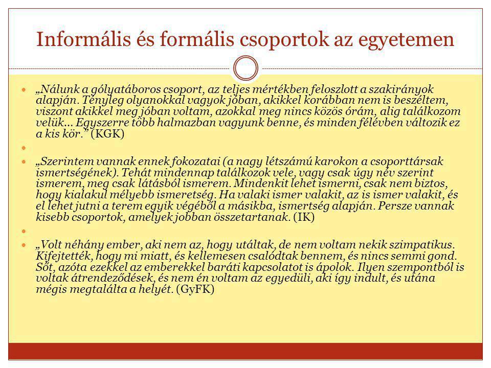 """Informális és formális csoportok az egyetemen  """"Nálunk a gólyatáboros csoport, az teljes mértékben feloszlott a szakirányok alapján."""