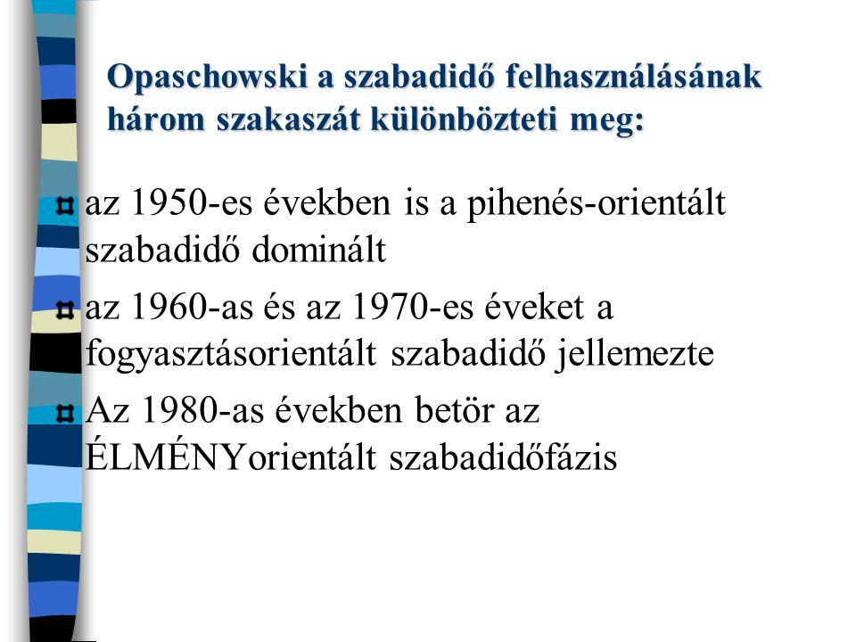 Opaschowski a szabadidő felhasználásának három szakaszát különbözteti meg: az 1950-es években is a pihenés-orientált szabadidő dominált az 1960-as és