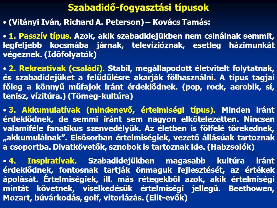 Szabadidő-fogyasztási típusok • (Vitányi Iván, Richard A.