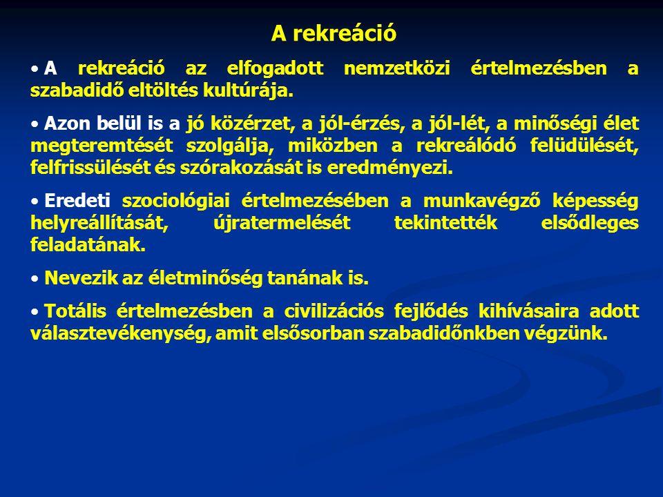 A rekreáció • A rekreáció az elfogadott nemzetközi értelmezésben a szabadidő eltöltés kultúrája.
