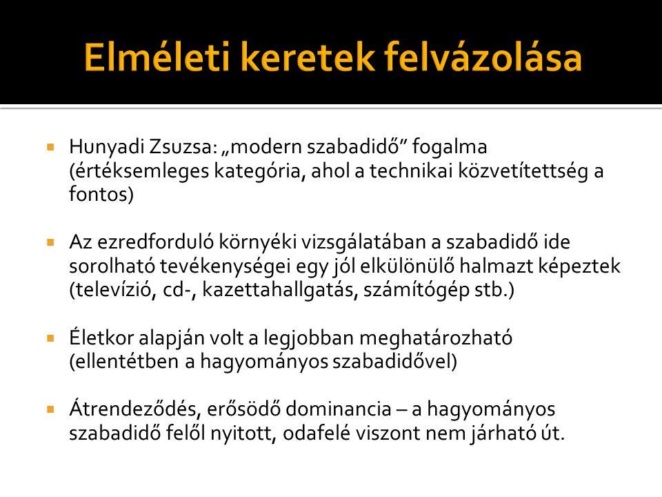""" Hunyadi Zsuzsa: """"modern szabadidő"""" fogalma (értéksemleges kategória, ahol a technikai közvetítettség a fontos)  Az ezredforduló környéki vizsgálatá"""