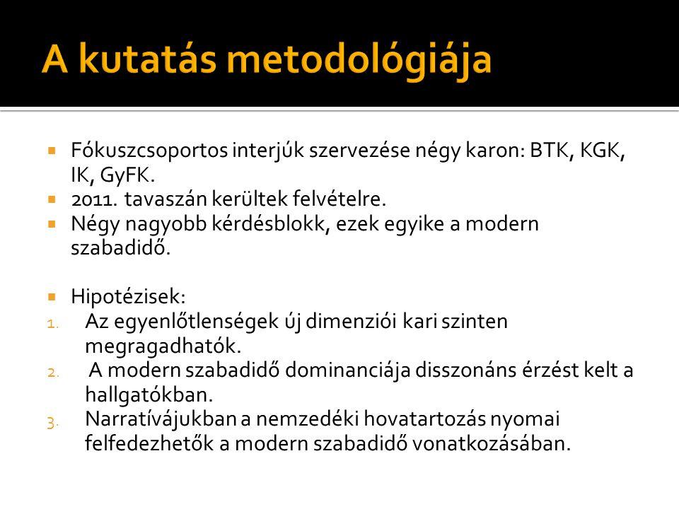  Fókuszcsoportos interjúk szervezése négy karon: BTK, KGK, IK, GyFK.  2011. tavaszán kerültek felvételre.  Négy nagyobb kérdésblokk, ezek egyike a