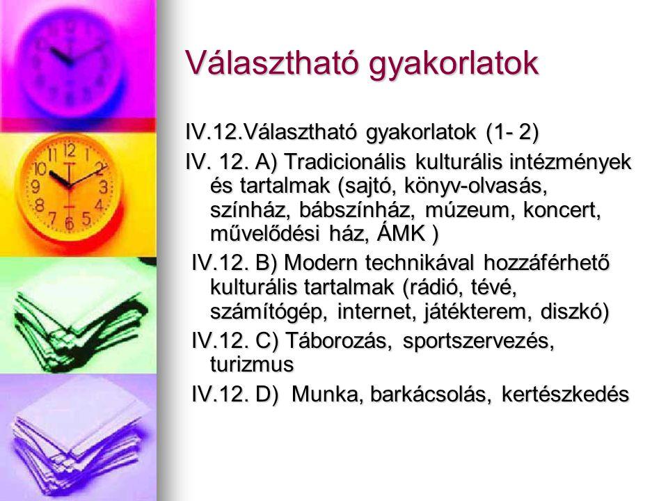 Választható gyakorlatok IV.12.Választható gyakorlatok (1- 2) IV. 12. A) Tradicionális kulturális intézmények és tartalmak (sajtó, könyv-olvasás, szính