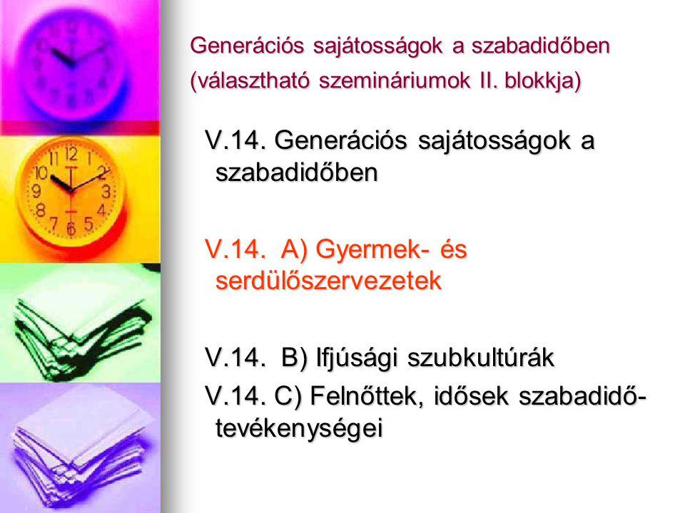 Generációs sajátosságok a szabadidőben (választható szemináriumok II. blokkja) V.14. Generációs sajátosságok a szabadidőben V.14. Generációs sajátossá