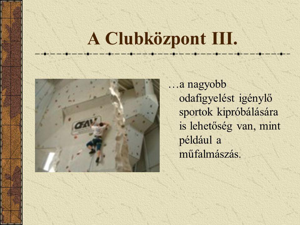 A Clubközpont III. …a nagyobb odafigyelést igénylő sportok kipróbálására is lehetőség van, mint például a műfalmászás.