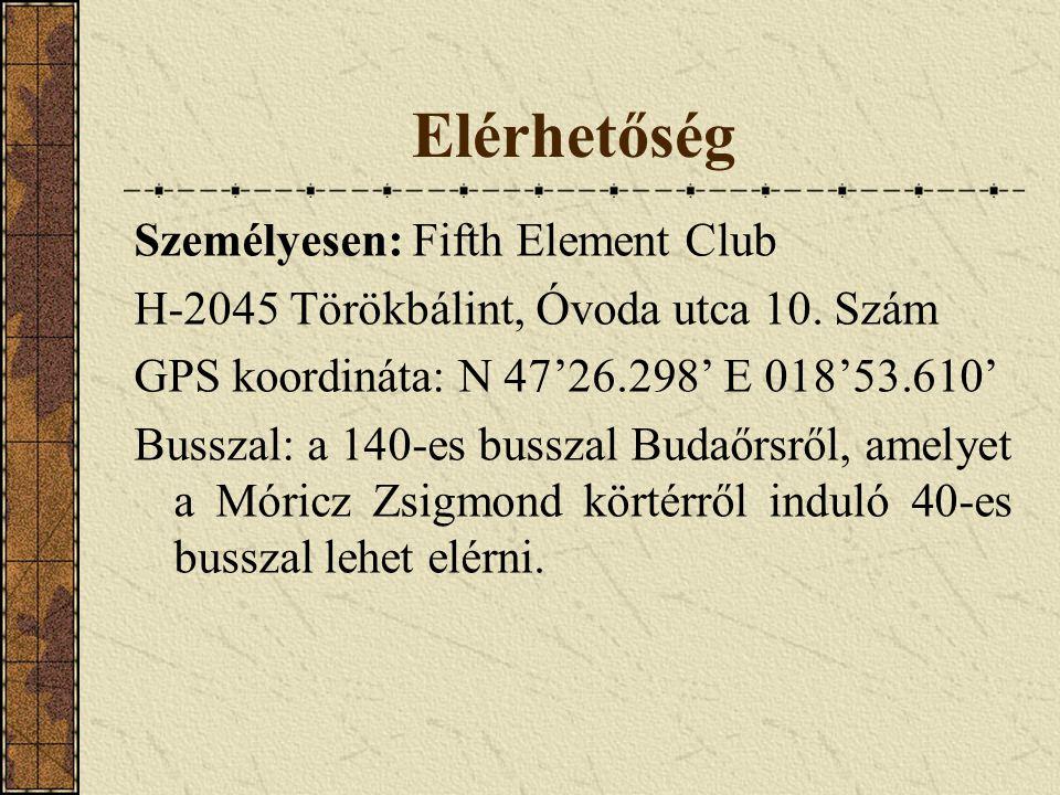 Elérhetőség Személyesen: Fifth Element Club H-2045 Törökbálint, Óvoda utca 10. Szám GPS koordináta: N 47'26.298' E 018'53.610' Busszal: a 140-es bussz