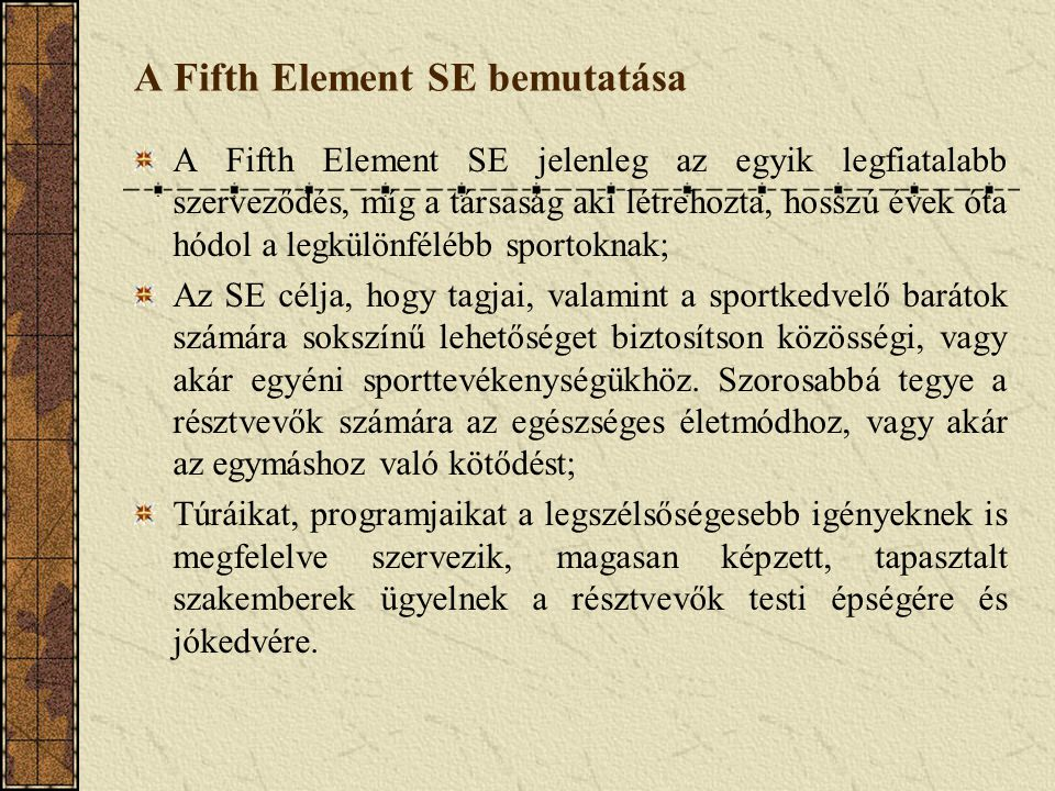 """A Fifth Element SE fő tevékenységi körei """"Hagyományos sporttevékenység szervezése """" Extrém sporttevékenység szervezése Csapatépítő jellegű programszervezés Sportfelszerelések bérbeadása"""
