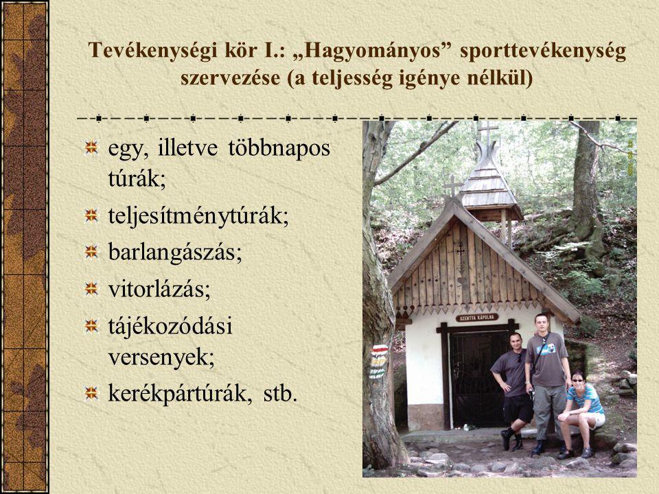 """Tevékenységi kör I.: """"Hagyományos"""" sporttevékenység szervezése (a teljesség igénye nélkül) egy, illetve többnapos túrák; teljesítménytúrák; barlangász"""