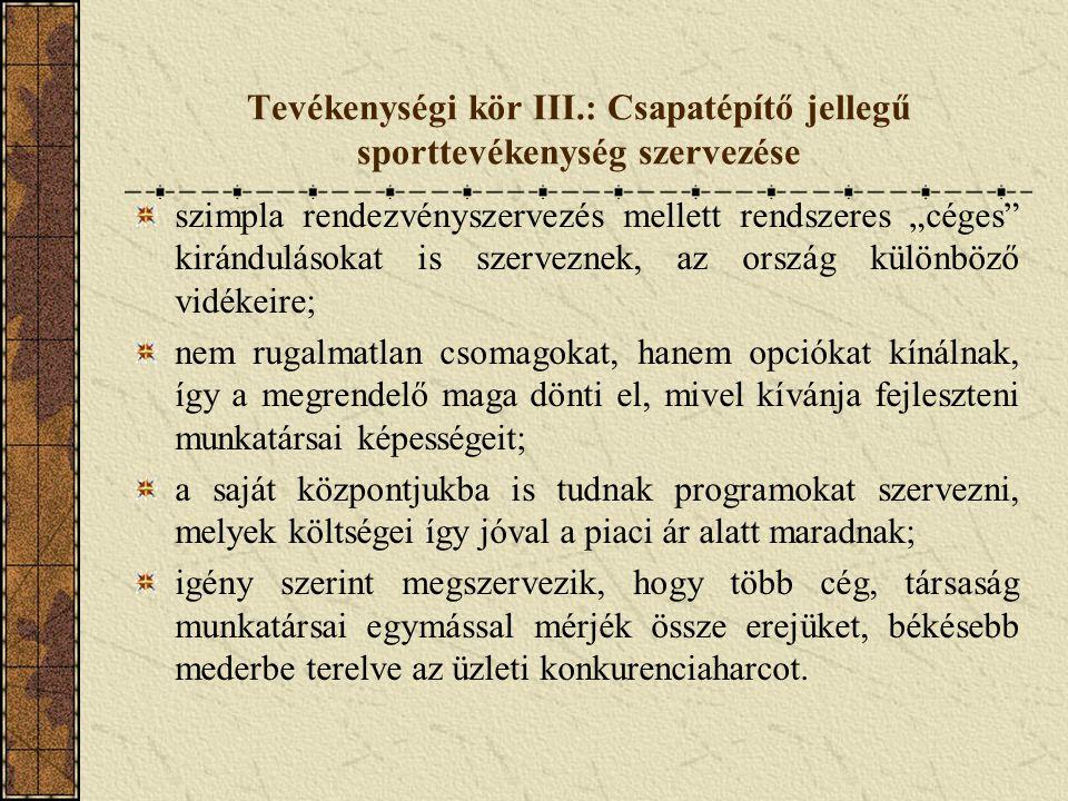 """Tevékenységi kör III.: Csapatépítő jellegű sporttevékenység szervezése szimpla rendezvényszervezés mellett rendszeres """"céges"""" kirándulásokat is szerve"""