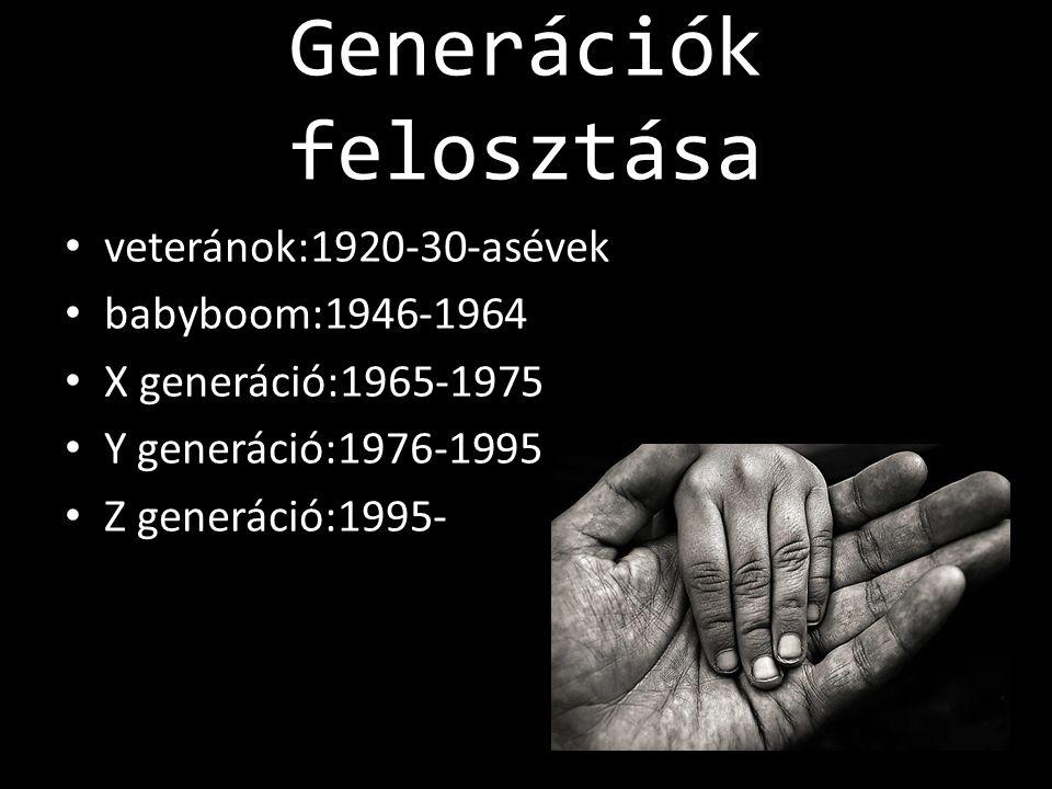 Generációk felosztása • veteránok:1920-30-asévek • babyboom:1946-1964 • X generáció:1965-1975 • Y generáció:1976-1995 • Z generáció:1995-