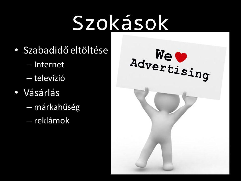 Szokások • Szabadidő eltöltése – Internet – televízió • Vásárlás – márkahűség – reklámok