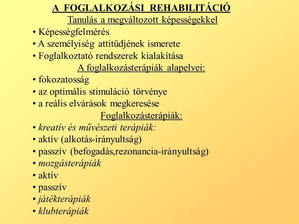 A SZOCIÁLIS REHABILITÁCIÓ A szociális rehabilitáció helye Multifaktoriális megközelítés A betegség miatti szociális károsodás: • otthoni helyzet • munka, foglalkozás • társas kapcsolatok • családi kapcsolatok • szabadidő eltöltés •társadalmi, környezeti hatások A szociális rehabilitáció folyamata: • szociális térkép készítése klienst érő környezeti hatásokról • kliens felkészítése a hazatérésre • kliens beilleszkedésének segítése • kliens leválasztása • a rehabilitációs folyamat értékelése