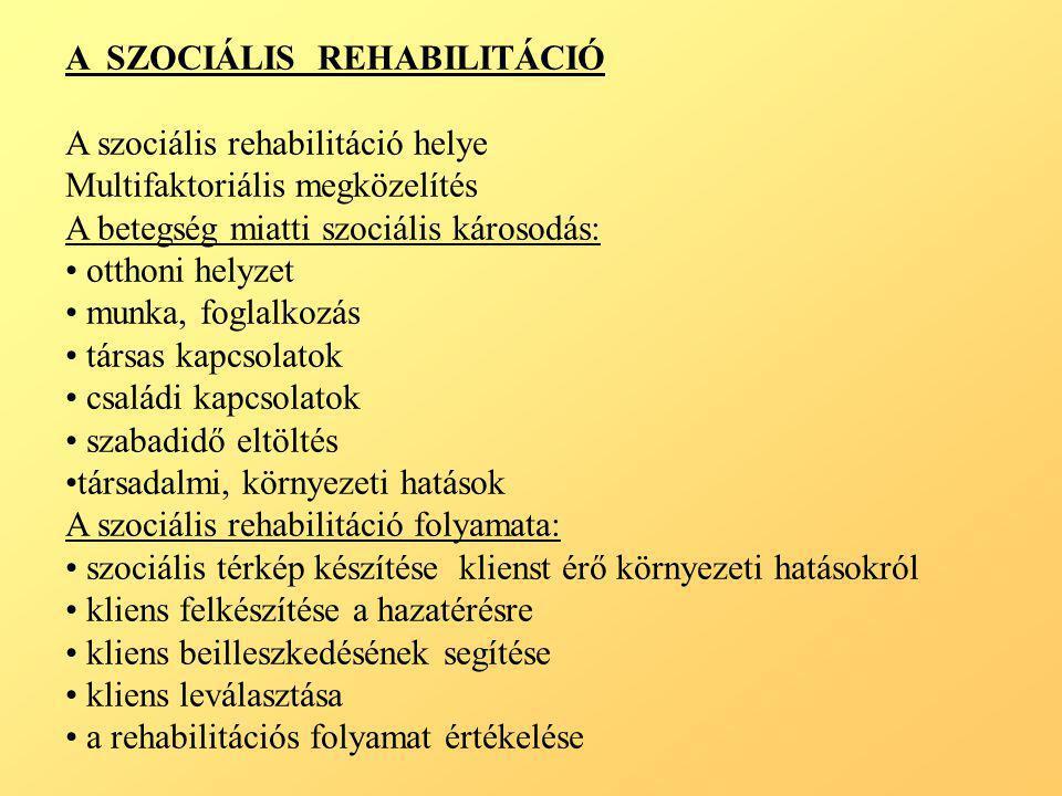 A SZOCIÁLIS REHABILITÁCIÓ A szociális rehabilitáció helye Multifaktoriális megközelítés A betegség miatti szociális károsodás: • otthoni helyzet • mun