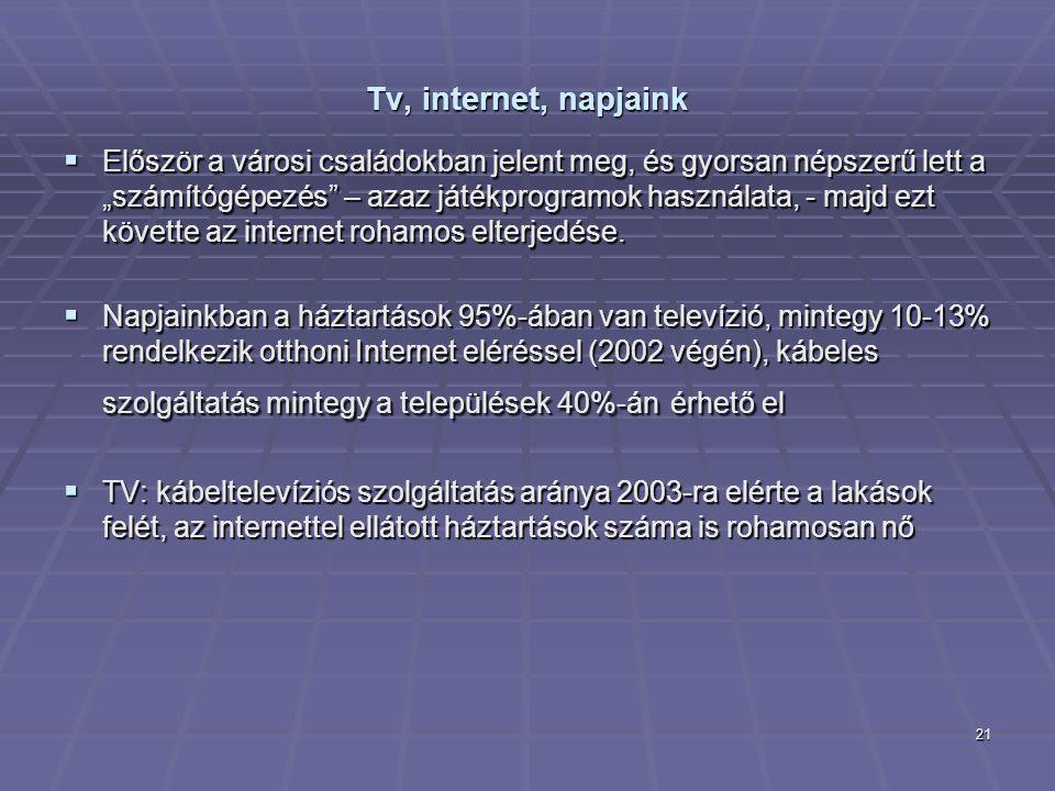 """21 Tv, internet, napjaink  Először a városi családokban jelent meg, és gyorsan népszerű lett a """"számítógépezés"""" – azaz játékprogramok használata, - m"""
